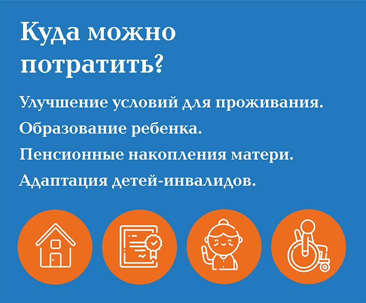 Куда можно вложить материнский капитал: улучшение условий проживания, образование ребенка, пенсионные накопления матери, на адаптацию детей-инвалидов
